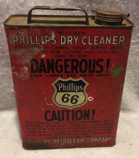 Rare Vintage Phillips 66 Dry Cleaner 1 Gallon Can Barn Fresh!  | eBay