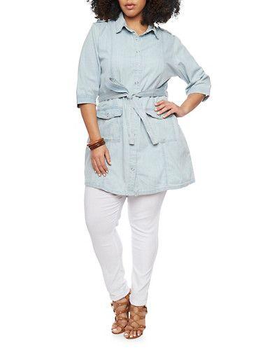 Plus Size Denim Button Up Tunic With Braided Belt,LIGHT WASH