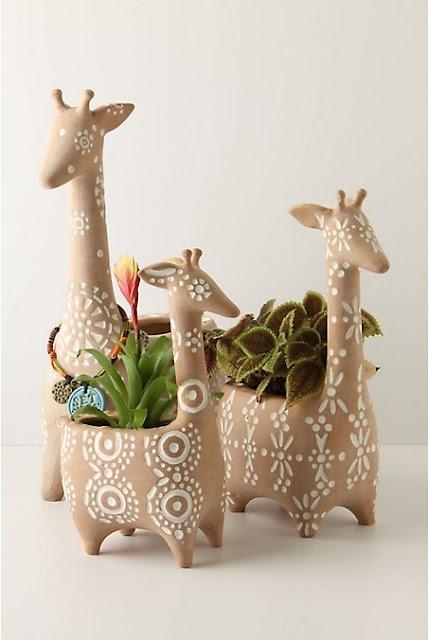 Mini giraffe pots with greens