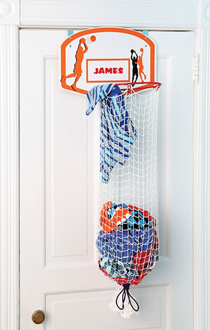 This basketball hoop clothes hamper lets kids pretend they're racking up points on the court while they keep bedrooms floors clean and clutter-free