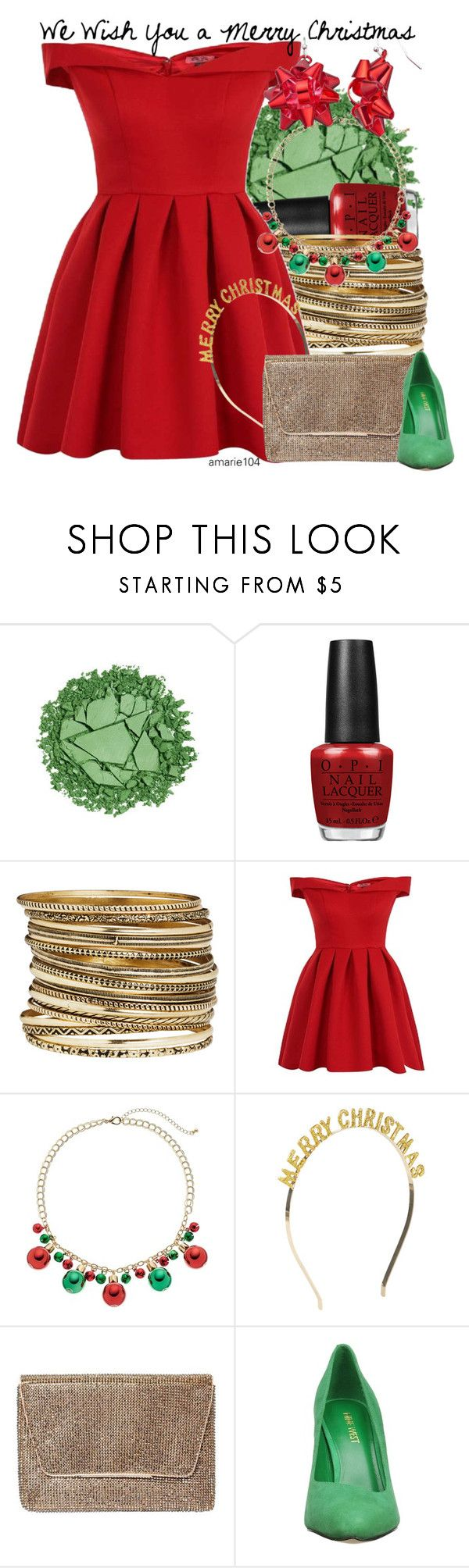 """""""We Wish You A Merry Christmas"""" by amarie104 ❤ liked on Polyvore featuring Urban Decay, OPI, H&M, Chi Chi, Accessorize, Dorothy Perkins and Nine West"""