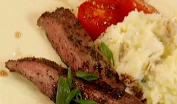 Rosemary Rubbed Steak with Cauliflower Mash : Cook Yourself Thin USA : The Home Channel