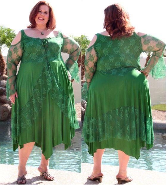 """Plus Size Renaissance Wedding Dresses Naf Dresses: Renaissance """"Corset"""" Dress W/Lace Overlay-Green"""