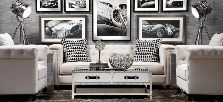 """""""Polished Prestige"""" by Z Gallerie. It could use a splash of color though. i would toss the black and white throws and  add the color there."""