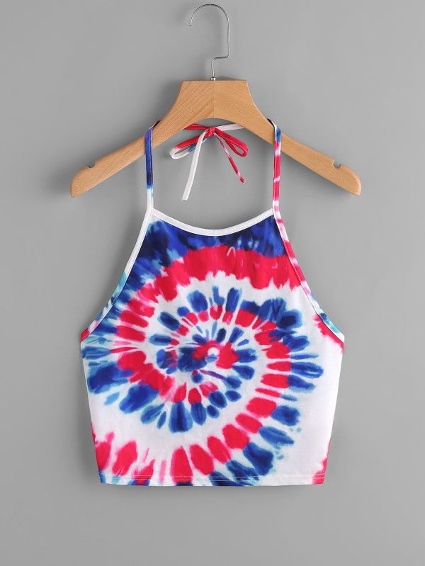 To find out about the Spiral Tie Dye Print Tie Halter Top at SHEIN, part of our latest Tank Tops & Camis ready to shop online today! Cute Tie Dye Shirts, Tie Dye Tops, Tie Dye Crop Top, Halter Tops, Halter Neck, Tie Dye Crafts, Spiral Tie Dye, How To Tie Dye, Cute Crop Tops