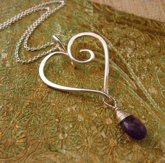 Wire heart pendant with drop bead