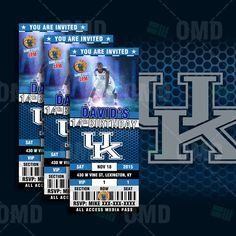 Kentucky Wildcats Sports Party Invitation, Sports Tickets Invites, UK Basketball Birthday Theme Party Template by sportsinvites