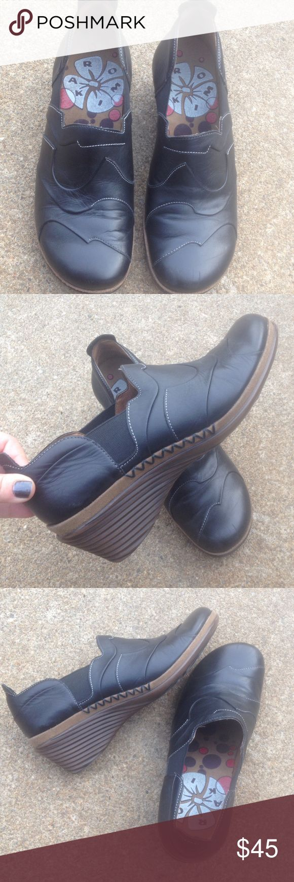 Women's Romika Black Leather Wedge Booties 11M/41 Women's Romika Black Leather Wedge Booties 11M/41 These are in awesome condition! Romika Shoes Ankle Boots & Booties