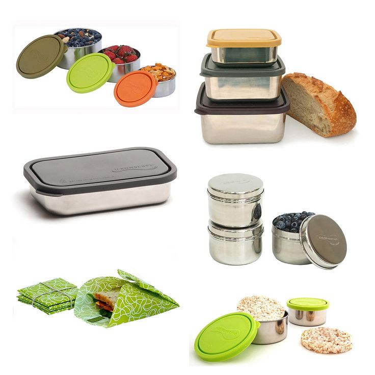 Kids Konserve makes tons of stainless steel lunch containers, ranging in size and price from $8 for singles to $35 for sets. And instead of wasting plastic baggies for snacks and sandwiches, they make reusable BPA-, lead-, and phthalate-free Food Kozy Wraps (2 for $8).