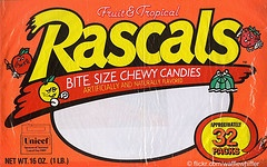 Rascals Candy these came out when i was in jr high i got to buy it at the snack machine a few times it was like skittles competition