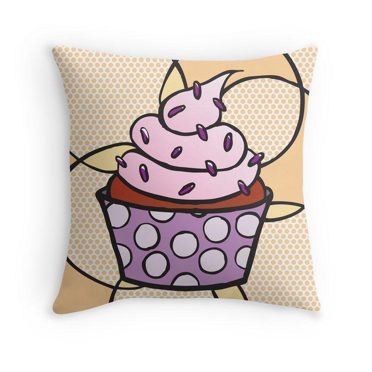 Throw Pillow - Cupcake 03 #popart #homedecor #redbubble