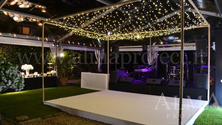 ALMA PROJECT @ Villa San Michele - Fairy light production - White Dancefloor - Black Stage - MH - Backline - pinspots buffet