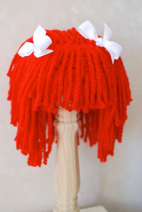 Yarn Hair Wig with White Ribbons, Raggedy Ann, by WillowWardrobe
