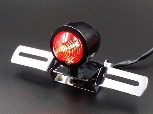 Black Bullet Motorcycle Brake Tail Light W/ License Plate Bracket Holder Custom  #aftermarket