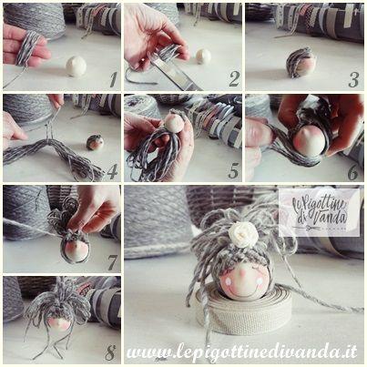 tutorial in 9 passaggi per realizzare una acconciatura per bambola con capelli di lana