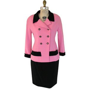 1980s pink and black Chanel skirt suit