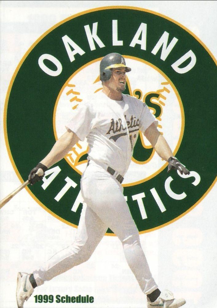 Jason Giambi--1999 Oakland Athletics Schedule--A's On Deck #Athletics #PocketSchedule
