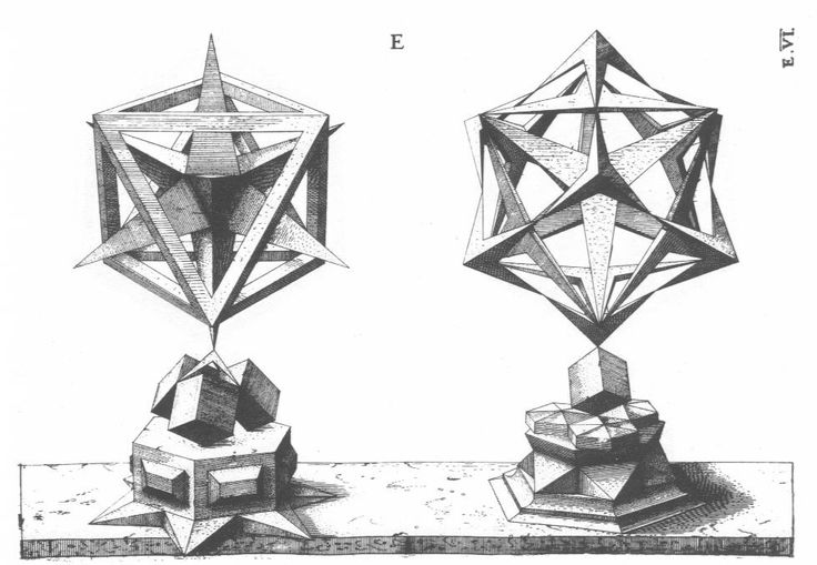 Second of eight etchings of polyhedra after designs by Wentzel Jamnitzer