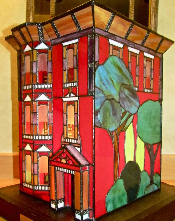 Amazing stained glass, leaded glass San Francisco well known Victorian brick stone mansion on Etsy, $900.00