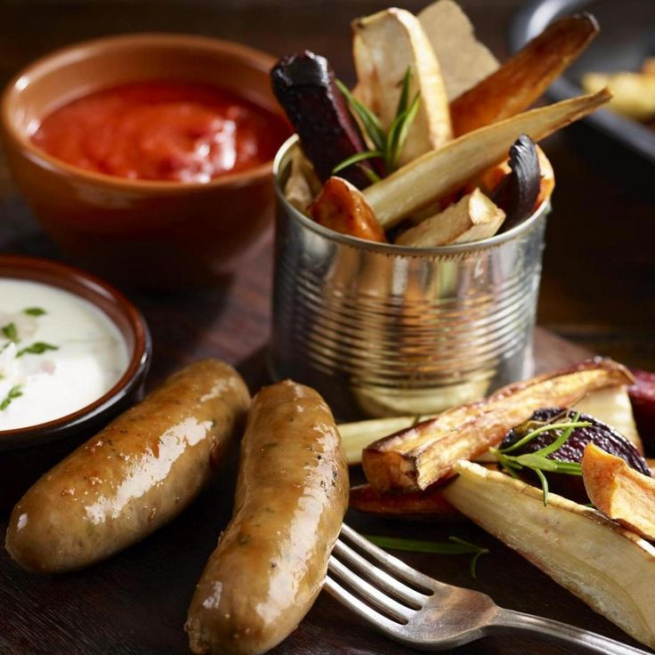 GOURMET PORK SAUSAGES WITH ROASTED ROOT VEGETABLE CHIPS, a delicious ...