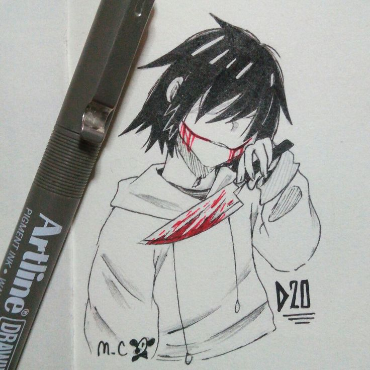 20th of Ink/Goretober ~ This deep scar on my face will never fade away like my sanity did Jeff The Killer again Ghad, I love this boi too much Prompts used: Deep and Serial Killer ^°^)/ ~♪ ©mikiemeka