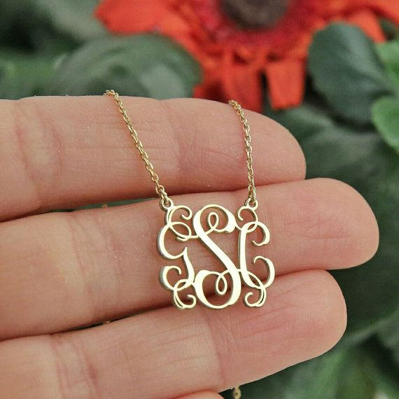 Monogram Necklace-Gold Necklace-Personalized by GoldPersonalized