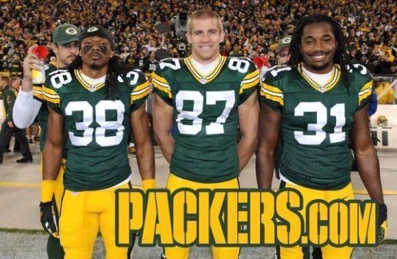 #38 Tramon Williams, #87 Jordy Nelson <3, & #31 Devon House with Mr. Rodgers sneaking around in the back doing what he is so well known for..... the Photo Bombing :)