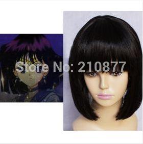 Сейлор Мун Сейлор сатурн Черный Прямой Синтетический Косплей Парик короткие черный боб парик партии для grils