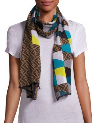 FENDI Mixed Print-Silk Scarf. #fendi #scarf