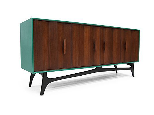 1950's green lacquered American walnut sideboard.