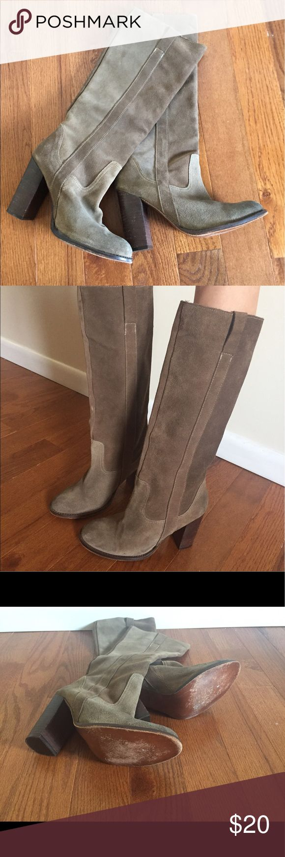 """Suede Steve Madden boots Lightly worn moss green, suede Steve Madden boots. hits just below knee with a 4"""" wooden heel. Minimal worn look on heal and a small mark on the front of the right foot. The leg area is slender so made to fit a thin leg. Size 10 Steve Madden Shoes Heeled Boots"""