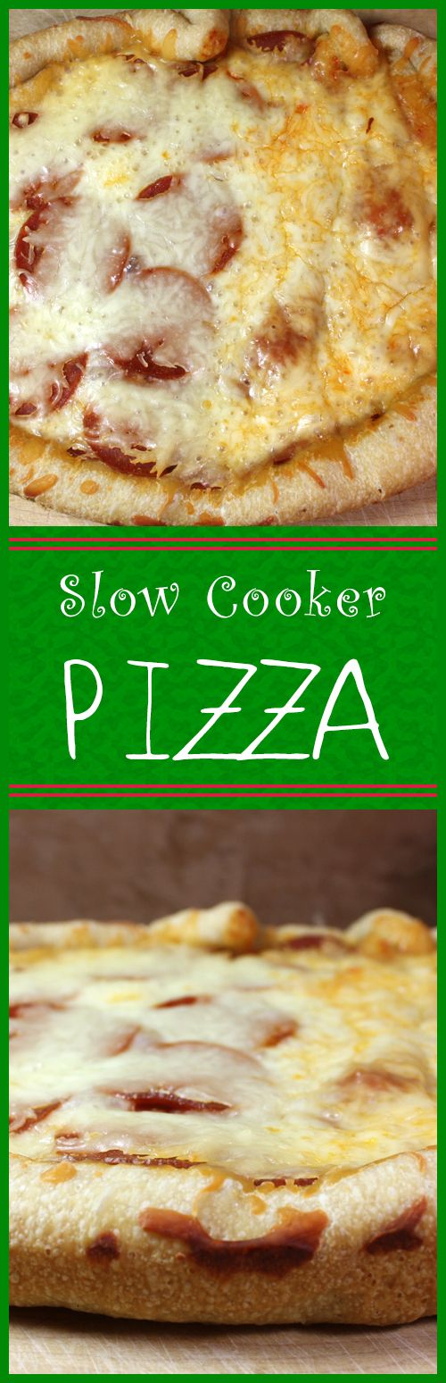 Slow Cooker Pizza - Did you know you can cook a pizza in the slow cooker? You will be surprised at how crispy, crunchy and bubbly it comes out!