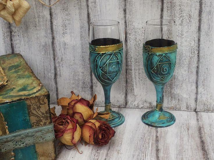 Martinel: Glasses in turquoise - Чаши в тюркоазено