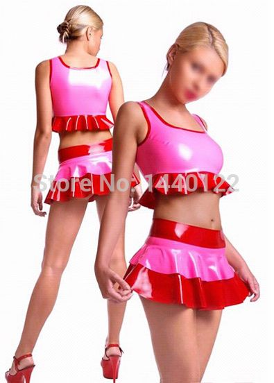 Summer women 2016 Pink sexy latex summer mini skirts and tops fetish rubber costumes vestidos club wear plus size hot sale #Affiliate