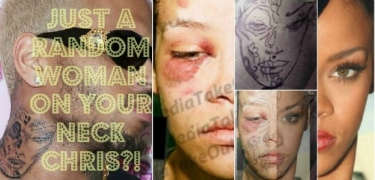 """Chris Brown has a new tattoo of a supposed """"random"""" woman. A close up of the tat provided by TMZ. The picture below it, I used the two images of Rihanna and faded them over the image...some random woman huh? He's parading around the fact that he beat her. Oh yeah and why did they get into a fight that night? Because he was texting an ex. For her to sit with Oprah and say that she thinks he did it because he needed help. No. He did it because he's an abusive scumbag. You can't fix crazy."""