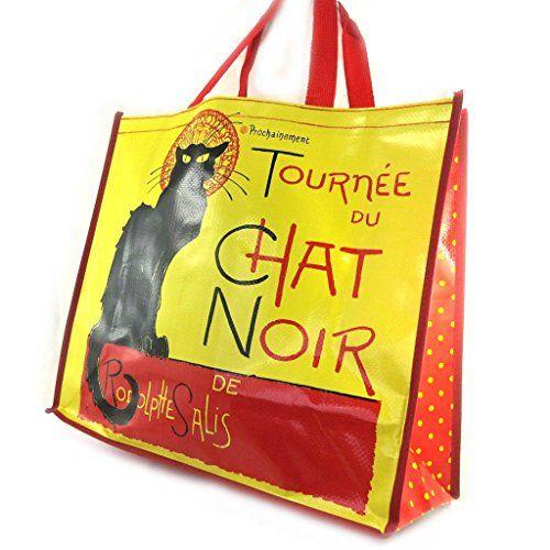 Les Trésors De Lily [M1375] - Sac Shopping rétro 'Chat Noir de Rodolphe Salis' rouge jaune (46x40x19 cm)