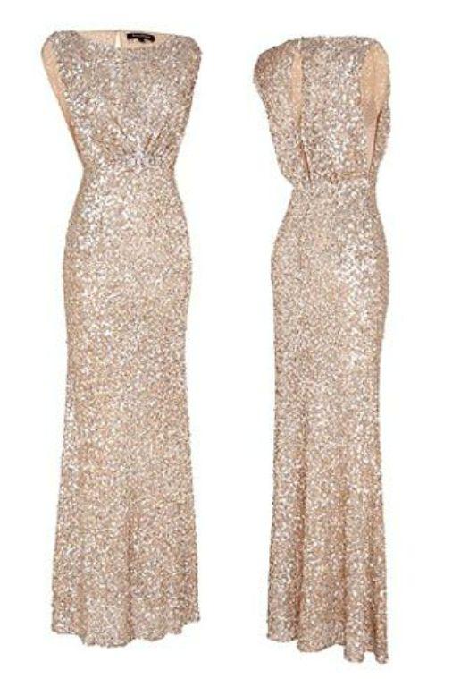 2015 Prom Dresses Round Neck Sequins Mermaid Floor Length Bridesmaid Dresses/Evening Gowns