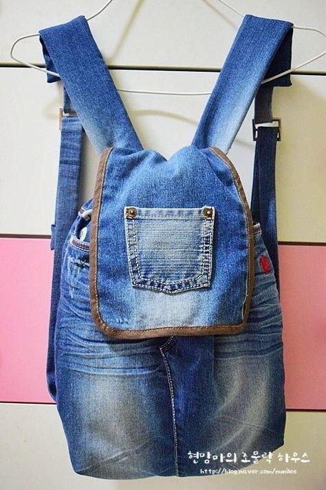 8745c250c Tutorial con el paso a paso para aprender como hacer una mochila reciclando  un pantalón vaquero. Como hacer una Mochila de JeansDIY Bolsa para niña con  ...