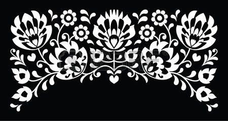 Polaca popular floral patr�n de bordado en blanco sobre fondo negro photo