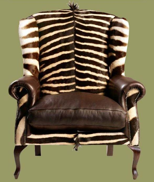 ZEBRA HIDE WING BACK CHAIR
