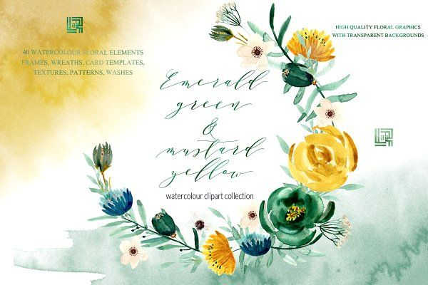 Emerald Green Mustard Yellow Watercolor Flowers Clip Art