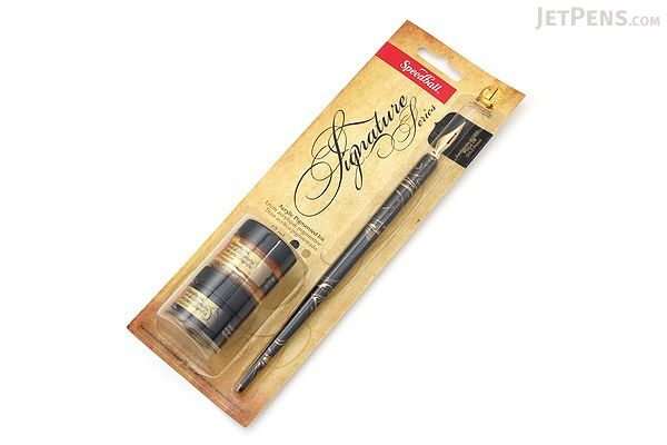 Speedball Signature Calligraphy Pen Set - with Gold & Black Ink - SPEEDBALL 94158