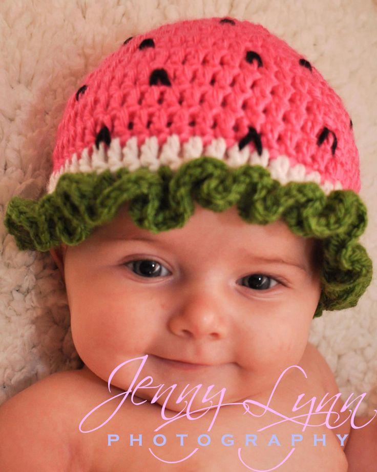 Crochet Baby Girl Watermelon Hat, Made To Order Newborn 0-3 M 3-6 Month Summer Pink Beanie, Handmade Photo Photography Prop, Fruit Green. $16.00, via Etsy.