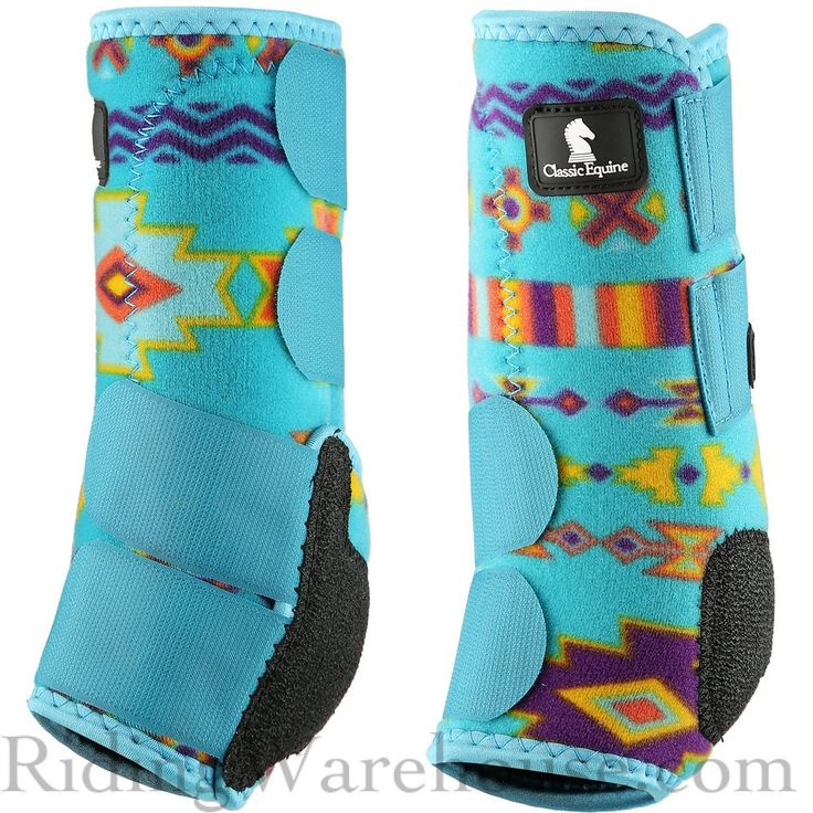 Show your true colors with the Classic Equine Legacy Teal Southwest Front Horse Boots. #splintboots #tendonboots #equineathlete