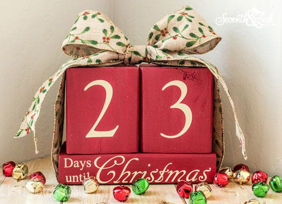 DIY KIT -  Christmas Countdown Board - Craft Kit - Create Your Own - Days until Christmas -  Christmas chalkboard - Craft Kit - Wood Sign