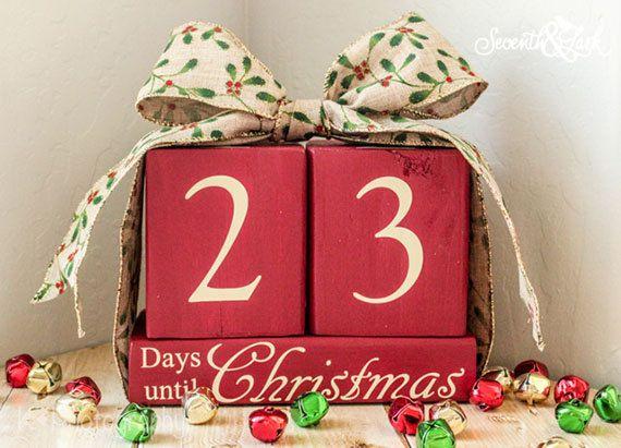 Countdown until Christmas Blocks -  Wood Christmas Blocks -  Countdown until Christmas - Christmas Decor - Xmas - Christmas - Countdown