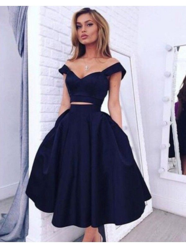 OFF SHOULDER NAVY BLUE TWO PIECE HOMECOMING DRESS