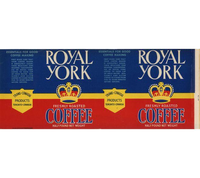 Étiquette de café en boîte de conserve de Royal Work Brand Coffee, fait à Toronto, Ontario