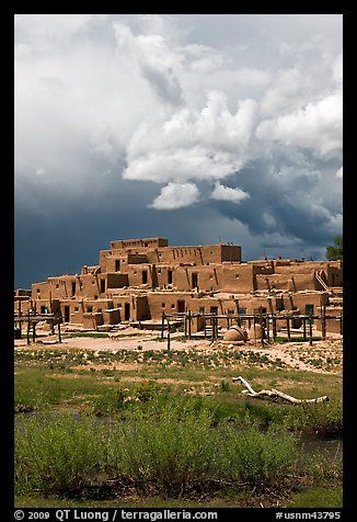 Largest multistoried Pueblo adobe structure. Taos, New Mexico, USA (color)