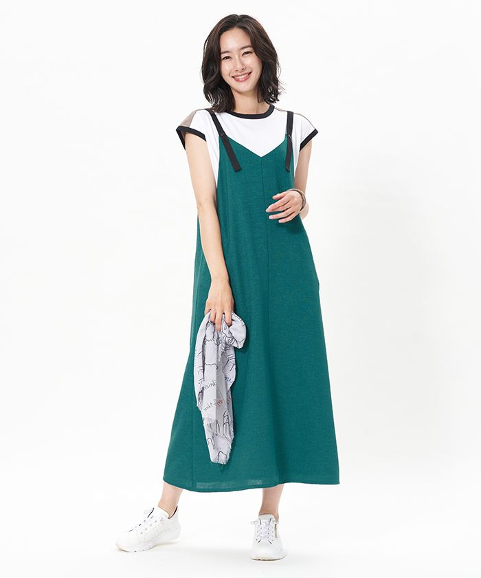 配色ロングワンピース cara o cruz キャラ オ クルス leilian co ltd official online store ロングワンピース ファッションスタイル スリップドレス